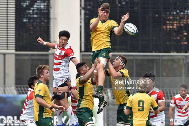 Australian's lock Mickael Woods grabs the ball in a line out during the 2018 World Rugby U20 Championship match between Australia and Japan at the...