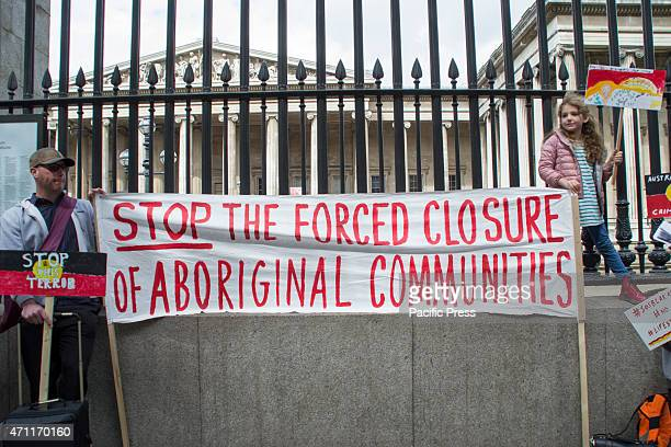 Australians outside the British Museum in London UK protest and raise awareness of the forced closure of 150 remote Aboriginal communities by the...