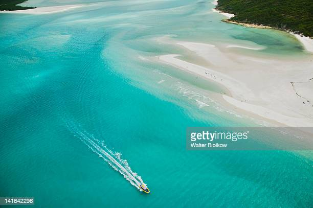 australia-queensland-whitsunday coast-whitsunday islands: aerial view of whitehaven beach - whitehaven beach stock photos and pictures