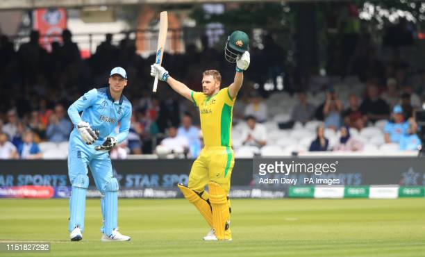 Australia's Aaron Finch celebrates reaching his century during the ICC Cricket World Cup group stage match at Lord's London