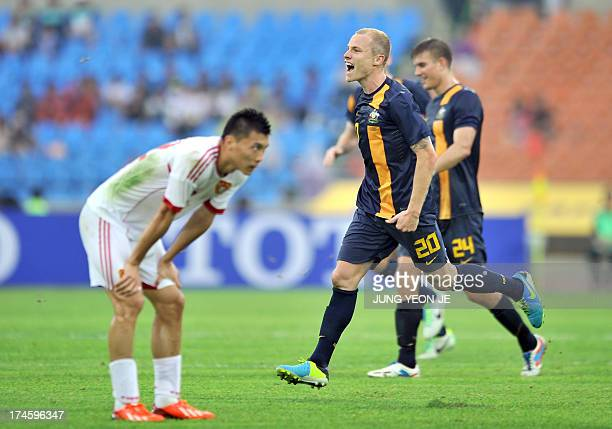 Australia's Aaron Frank Mooy celebrates after scoring against China during their East Asian Cup football match in Seoul on July 28 2013 The match was...
