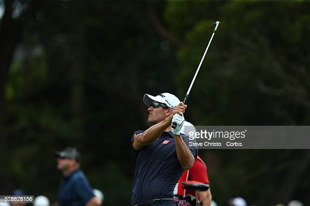 Australia's Adam Scott plays takes a shot on the 6th fairway at the Australian Open. Sydney Australia. Friday 28th November 2014 .