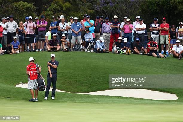 Australia's Adam Scott walks off the 7th green after sinking a long putt at the Australian Open Sydney Australia Friday 28th November 2014