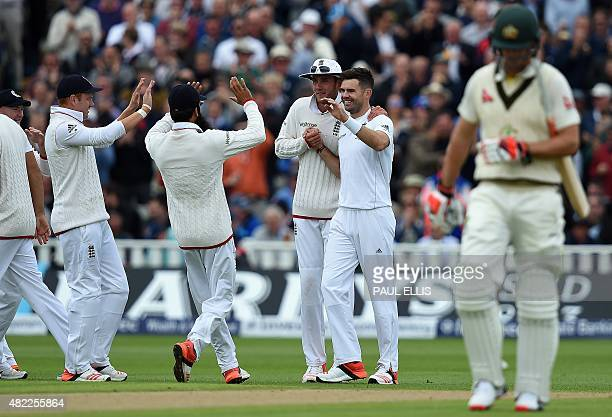 Australia's Adam Voges leaves the pitch after being dismissed by England bowler James Anderson on the first day of the third Ashes cricket test match...