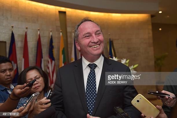Australia's Agriculture Minister Barnaby Joyce speaks to journalists after meeting with Indonesia's Trade Minister Thomas Lembong at the Trade...