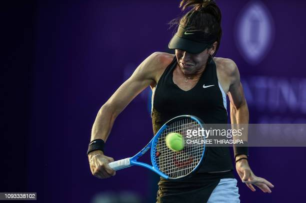 Australia's Ajla Tomljanovic hits a return against Ukraine's Dayana Yastremska during the final of the WTA Thailand Open tennis tournament in Hua Hin...