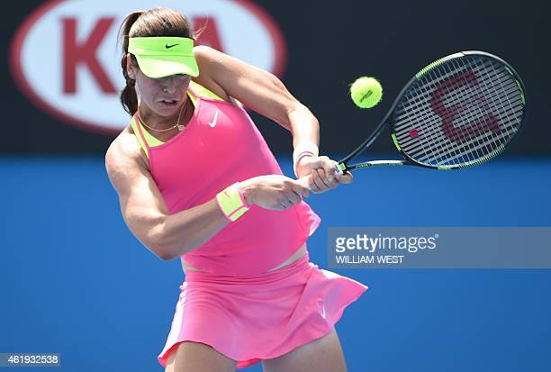 Australia's Ajla Tomljanovic plays a shot during her women's singles match against Vavara Lepchenko of the US on day four of the 2015 Australian Open...
