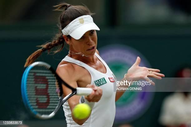 Australia's Ajla Tomljanovic returns against Australia's Ashleigh Barty during their women's quarter-final tennis match on the eighth day of the 2021...