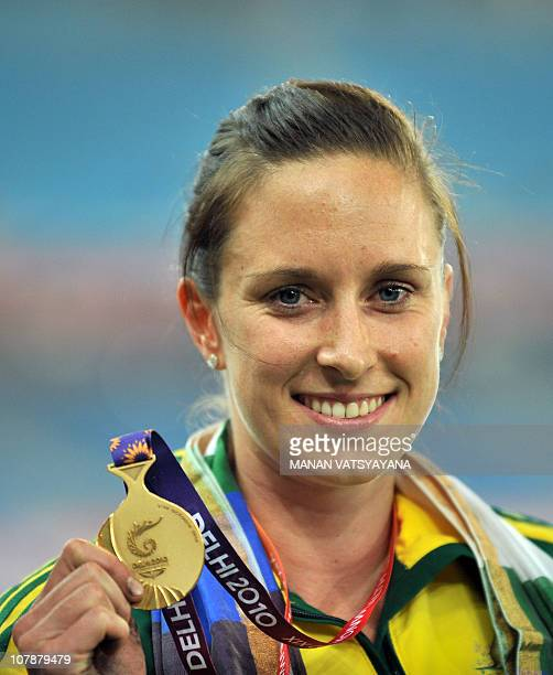 Australia's Alana Boyd celebrates during the Pole Vault women medal ceremony of the Track and Field competition of the XIX Commonwealth Games on...