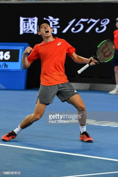Australia's Alex de Minaur celebrates his victory against Switzerland's Henri Laaksonen during their men's singles match on day three of the...
