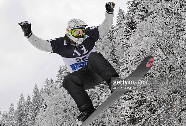 Australia's Alex Pullin competes on the Snowboard Cross at the FIS World cup in Bad Gastein 13 January 2008 Austria's Mario Fuchs won ahead of Shaun...