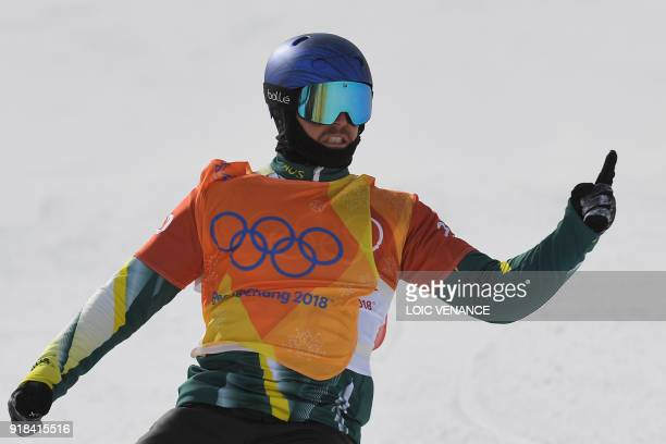 Australia's Alex Pullin reacts after winning a men's snowboard cross semi-final at the Phoenix Park during the Pyeongchang 2018 Winter Olympic Games...