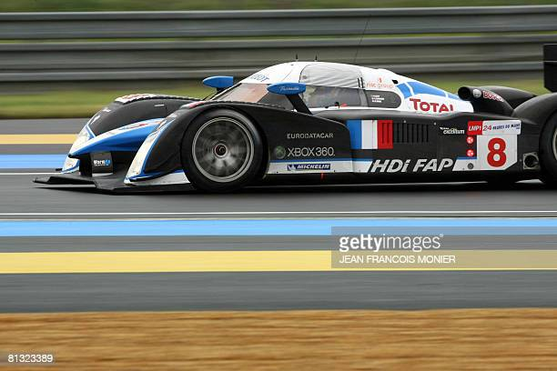 Australia's Alexander Wurz steers his Peugeot 908 HDiFAP N9 on June 1 during a free practice session of the upcoming Le Mans 24hour endurance race...