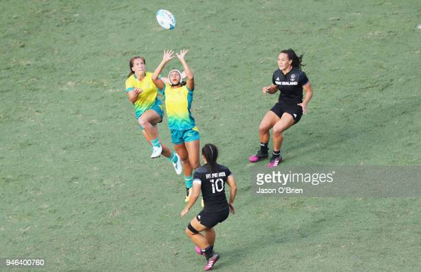 Australia's Alicia Quirk attemps to take a high ball during Rugby Sevens on day 11 of the Gold Coast 2018 Commonwealth Games at Robina Stadium on...