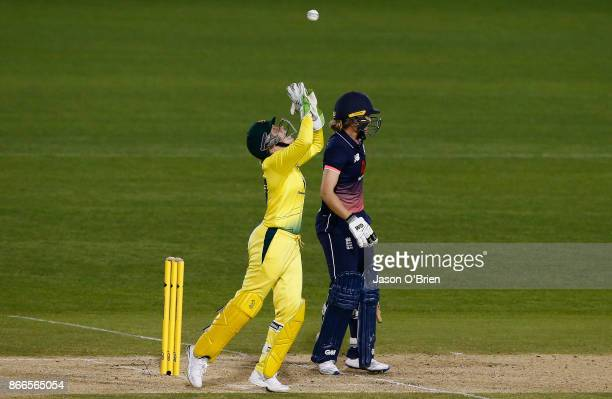 Australia's Alyssa Healy celebrates after taking the catch to dismiss Sarah Taylor during the Women's One Day International match between Australia...