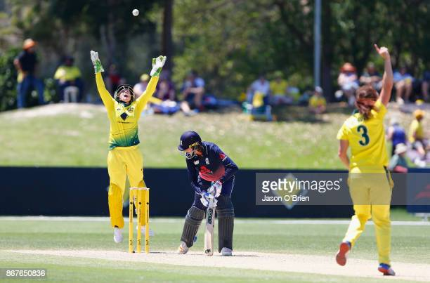 Australia's Alyssa Healy celebrates after taking the catch to dismiss England's Jenny Gunn during the Women's International One Day match between...