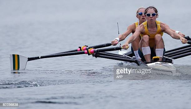 Australia's Amber Halliday and Marguerite Houston power during the lightweight women's double sculls at the 2008 Beijing Olympic 2008 banner in...