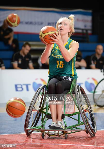 Australia's Amber Merritt in action during the women's wheelchair basketball match against Germany at the BT Paralympic World Cup