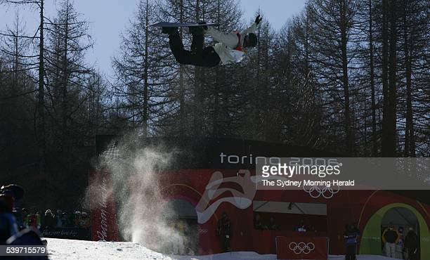 Australia's Andrew Burton in action during the Men s snowboard Halfpipe Qualification at Bardonecchia during the 2006 Winter Olympics in Torino Italy...