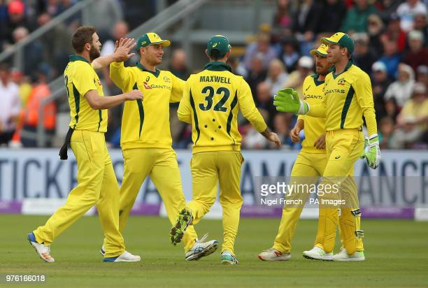 Australia's Andrew Tye celebrates after taking the wicket of England's Jason Roy during the One Day International match at the SSE SWALEC Stadium...
