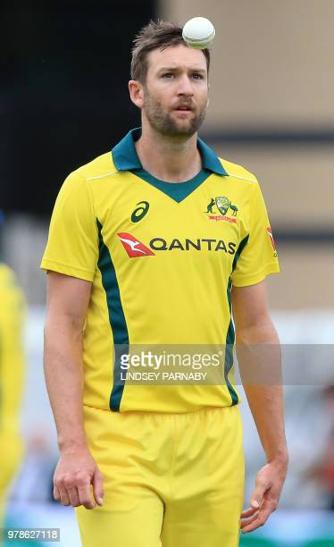 Australia's Andrew Tye throws a ball during the third OneDay International cricket match between England and Australia at Trent Bridge cricket ground...
