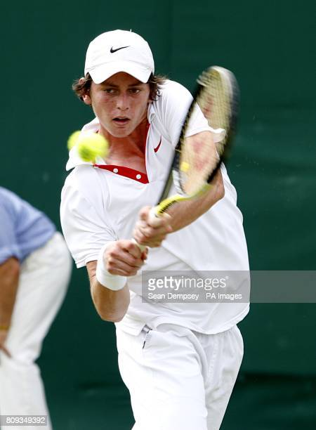 Australia's Andrew Whittington in action against Great Britain's Luke Bambridge in the first round of the Boy's Singles