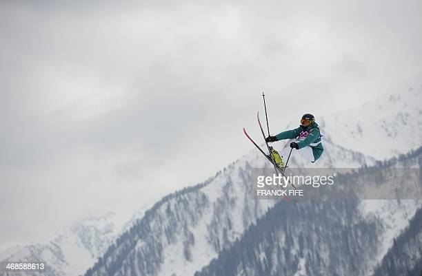 Australia's Anna Segal competes in the Women's Freestyle Skiing Slopestyle Flower Ceremony at the Rosa Khutor Extreme Park during the Sochi Winter...