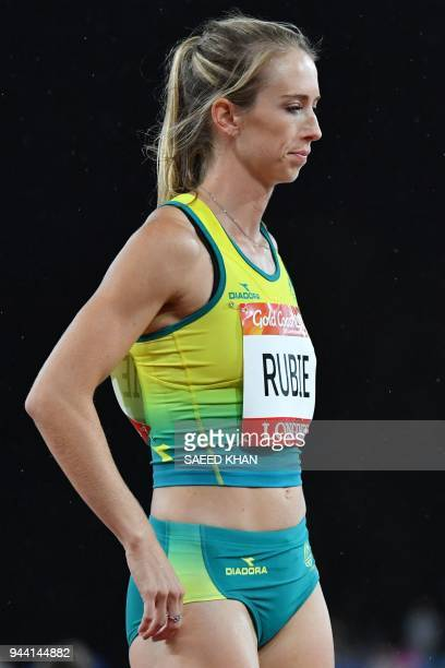 Australia's Anneliese Rubie prepares to compete in the athletics women's 400m semifinal during the 2018 Gold Coast Commonwealth Games at the Carrara...