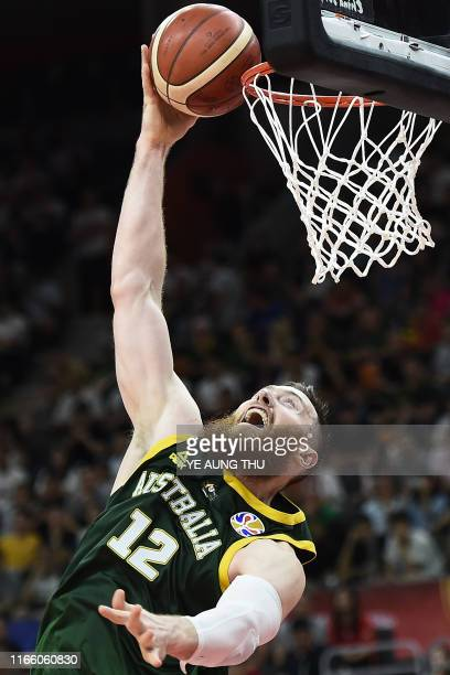 Australia's Aron Baynes goes to the basket during the Basketball World Cup Group H game between Lithuania and Australia in Dongguan on September 5...