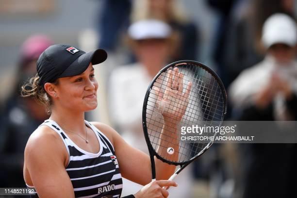 Australia's Ashleigh Barty celebrates after winning against Czech Republic's Marketa Vondrousova during their women's singles final match on day...