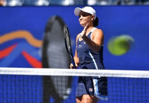 Australia's Ashleigh Barty celebrates her win over Denmark's Clara Tauson during their 2021 US Open Tennis tournament women's singles second round...