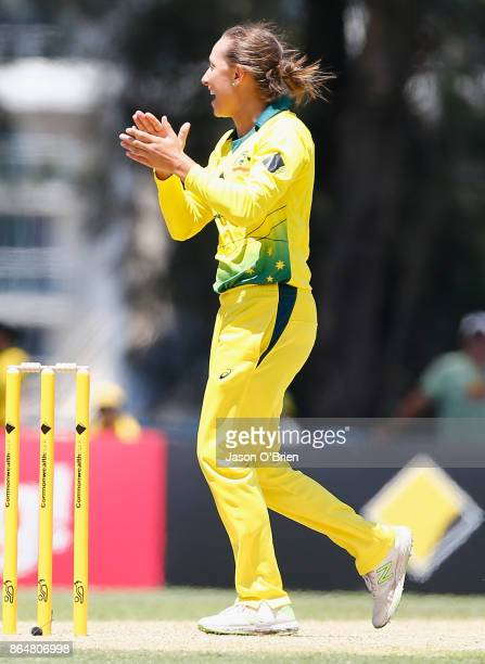 Australia's Ashleigh Gardner celebrates the wicket of Sarah Taylor during the Women's One Day International between Australia and England at Allan...