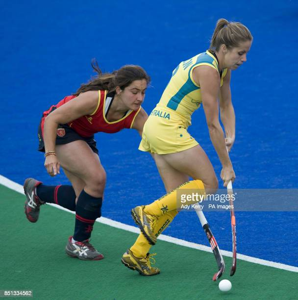 Australia's Ashleigh Nelson challenges with the Spain's Lola Riera Zuzuarregui during their opening group game in the Investec World League Semi...