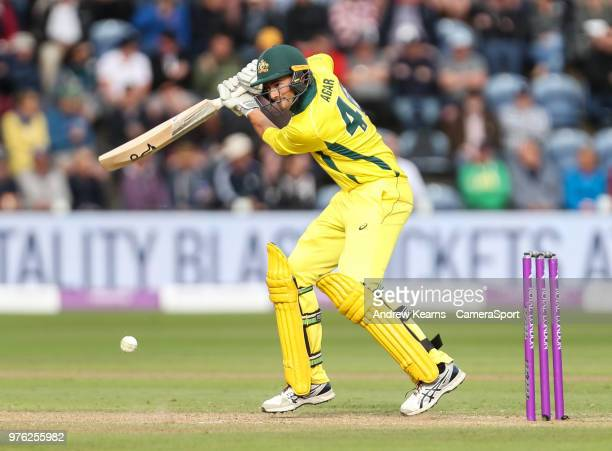 Australia's Ashton Agar during the Royal London OneDay Series 2nd ODI between England and Australia at Sophia Gardens on June 16 2018 in Cardiff Wales