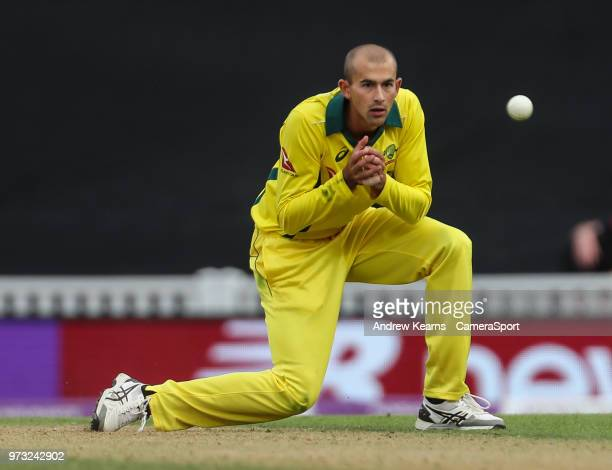 Australia's Ashton Agar fields his own bowling during the Royal London 1st ODI match between England and Australia at The Kia Oval on June 13 2018 in...