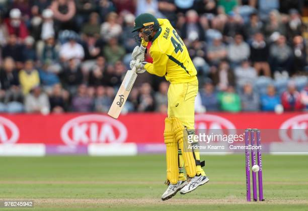 Australia's Ashton Agar survives a near miss during the Royal London OneDay Series 2nd ODI between England and Australia at Sophia Gardens on June 16...