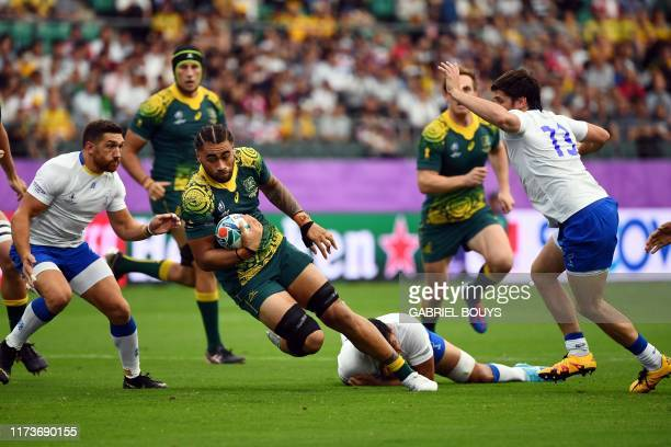 Australia's back row Lukhan SalakaiaLoto runs with the ball during the Japan 2019 Rugby World Cup Pool D match between Australia and Uruguay at the...