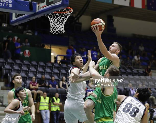 Australia's basketball player Creek Mitch drives to the basket during a match against Japan in the FIBA AsiaCup 2017 in the Lebanese town of Zouk...