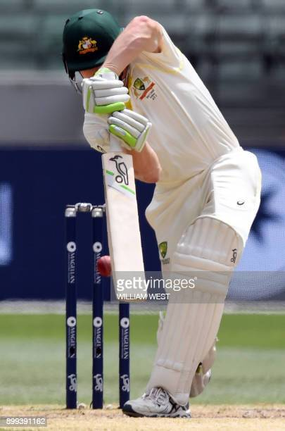 Australia's batsman Cameron Bancroft is bowled by England's Chris Woakes on the fourth day of the fourth Ashes cricket Test match against England at...