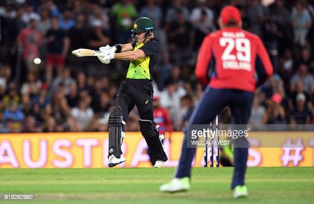 Australia's batsman D'Arcy Short pulls a ball from the England bowling during their Twenty20 cricket match at Bellerive Oval in Hobart on February 7...