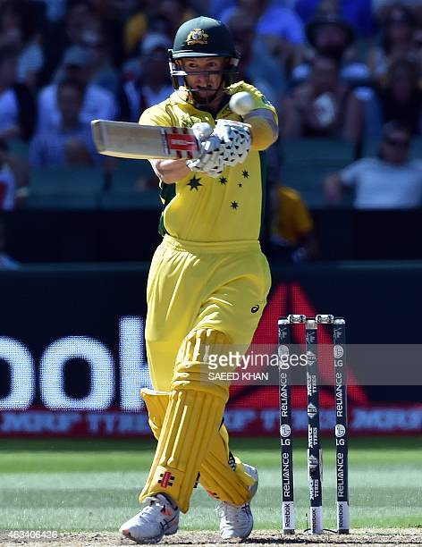 Australia's batsman George Bailey plays a shot against England during the Pool A 2015 Cricket World Cup match between Australia and England at the...