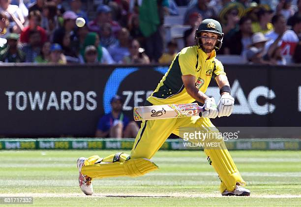 Australia's batsman Glenn Maxwell plays a reverse sweep from the Pakistan bowling during their oneday international cricket match played at the MCG...