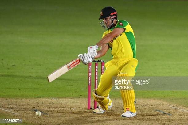 Australia's batsman Mitchell Marsh plays a shot during the international Twenty20 cricket match between England and Australia at the Ageas Bowl in...