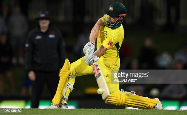 Australia's batsman Shaun Marsh drives a delivery from the South Africa bowling during the third oneday international cricket match in Hobart on...