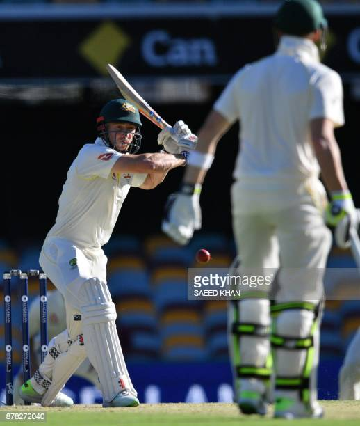Australia's batsman Shaun Marsh plays a shot on the second day of the first cricket Ashes Test between England and Australia in Brisbane on November...