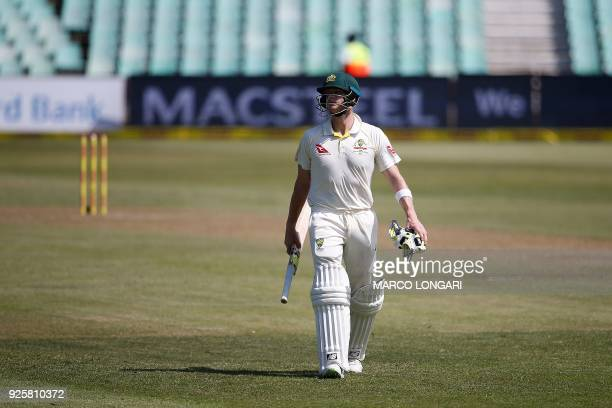 Australia's batsman Steven Smith leaves the ground after being dismissed during day one of the first Sunfoil Test between South Africa and Australia...