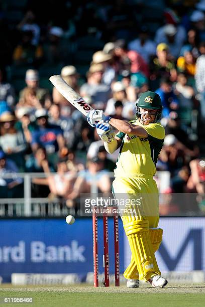 Australia's batsman Travis Head plays a shot during the One Day International match between South Africa and Australia at Wanderers Stadium on...