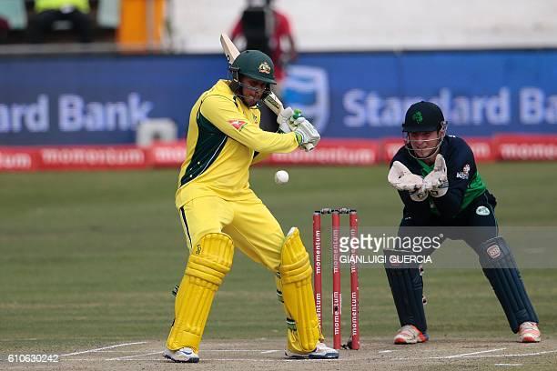 Australia's batsman Usman Khawaja plays a shot during Australia against Ireland ODI cricket match on September 27 2016 at the Willowmoore cricket...