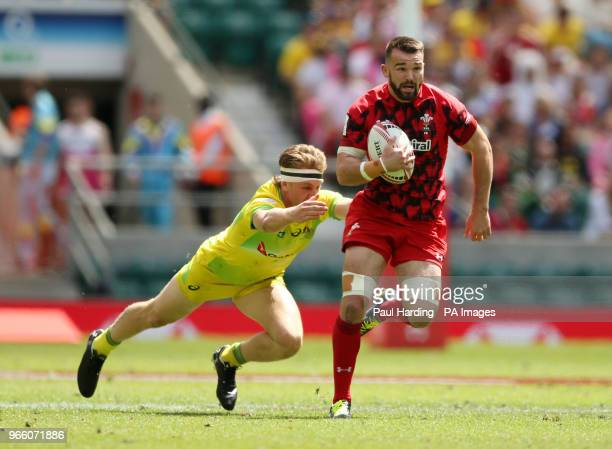 Australia's Ben O'Donnell and Wales's Afon Bagshaw during day one of the HSBC London Sevens at Twickenham Stadium London