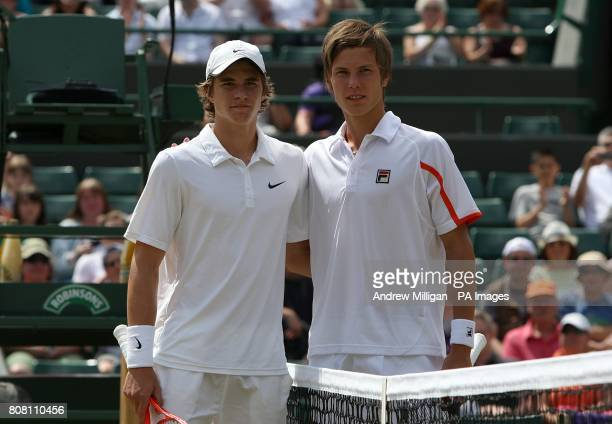 Australia's Benjamin Mitchell and Hungary's Marton Fucsovics pose for the cameras prior to competing in the Boy's Singles Final